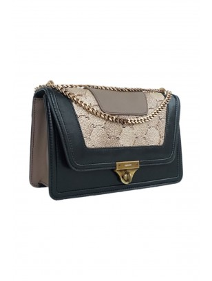 Black Gold Shoulder Bag With Genuine Leather Chain Handle